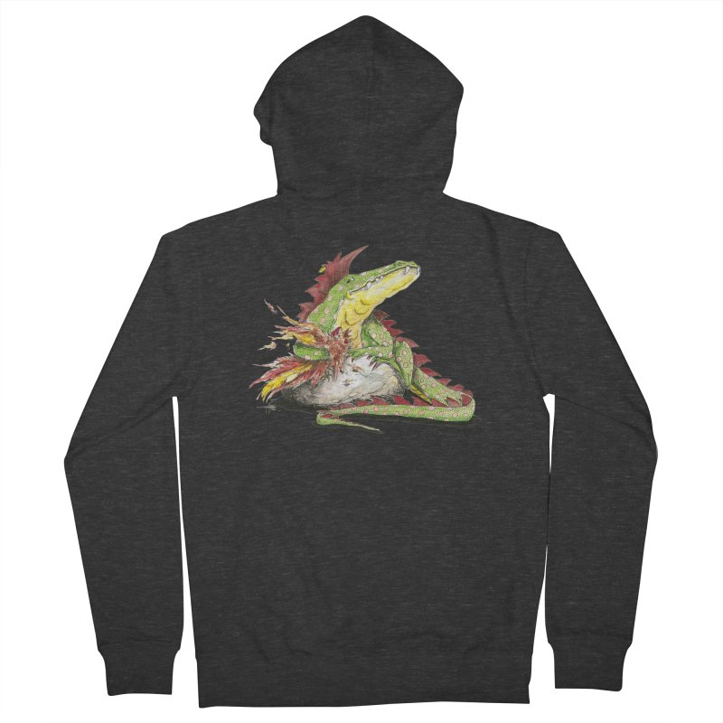 Lizard King, Chicken for Lunch Men's French Terry Zip-Up Hoody by mybadart's Artist Shop