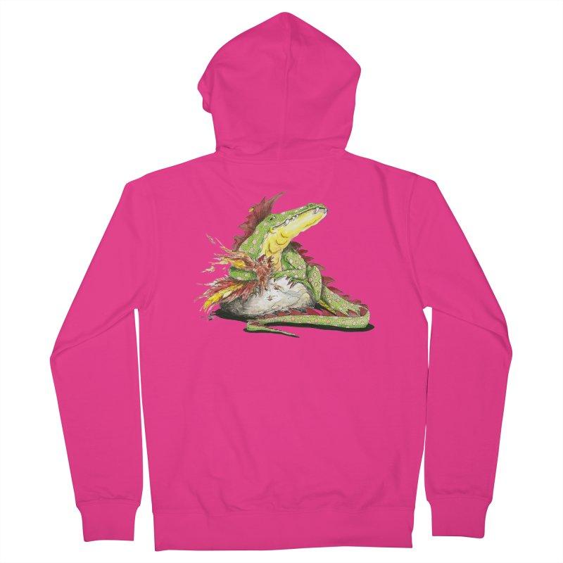 Lizard King, Chicken for Lunch Men's French Terry Zip-Up Hoody by mybadart's Artist Shop