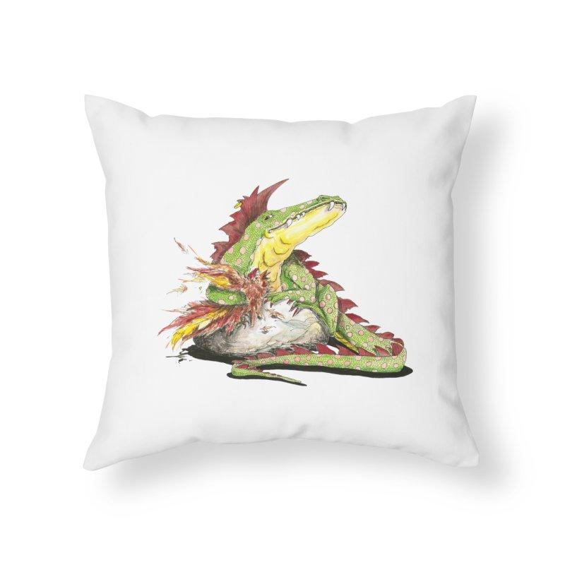 Lizard King, Chicken for Lunch Home Throw Pillow by mybadart's Artist Shop