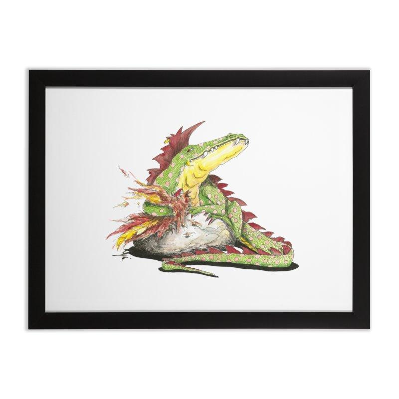 Lizard King, Chicken for Lunch Home Framed Fine Art Print by mybadart's Artist Shop