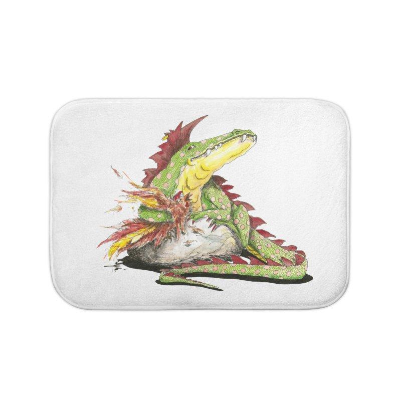 Lizard King, Chicken for Lunch Home Bath Mat by mybadart's Artist Shop