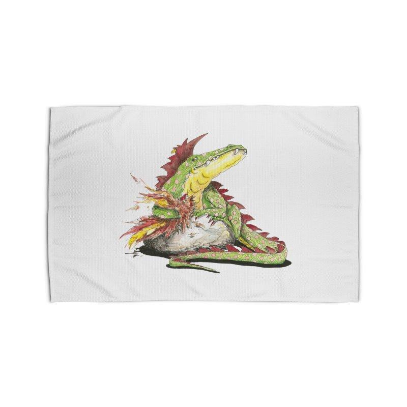 Lizard King, Chicken for Lunch Home Rug by mybadart's Artist Shop