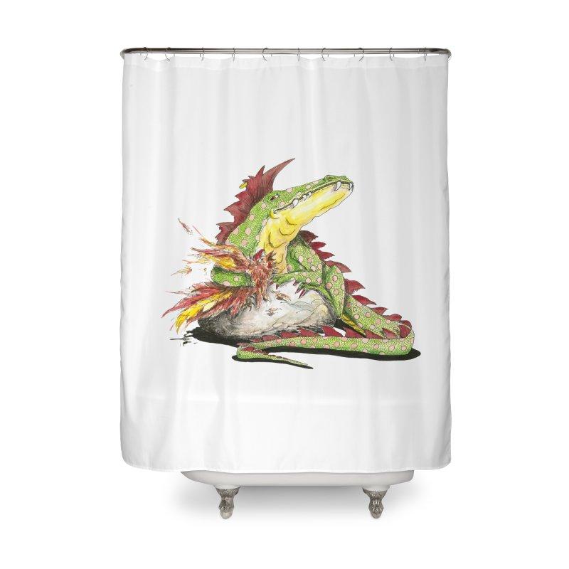 Lizard King, Chicken for Lunch Home Shower Curtain by mybadart's Artist Shop
