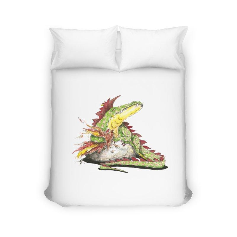Lizard King, Chicken for Lunch Home Duvet by mybadart's Artist Shop