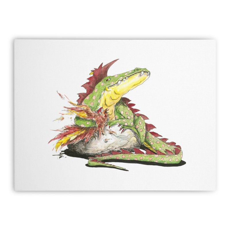Lizard King, Chicken for Lunch Home Stretched Canvas by mybadart's Artist Shop