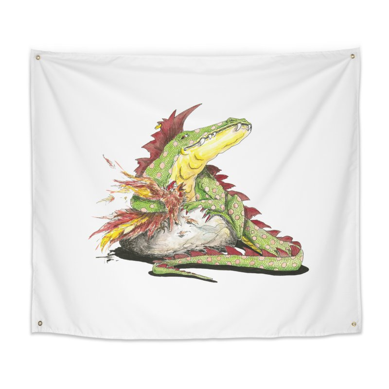 Lizard King, Chicken for Lunch Home Tapestry by mybadart's Artist Shop