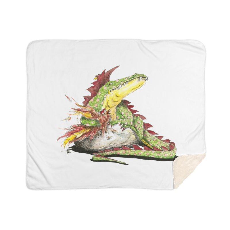 Lizard King, Chicken for Lunch Home Blanket by mybadart's Artist Shop