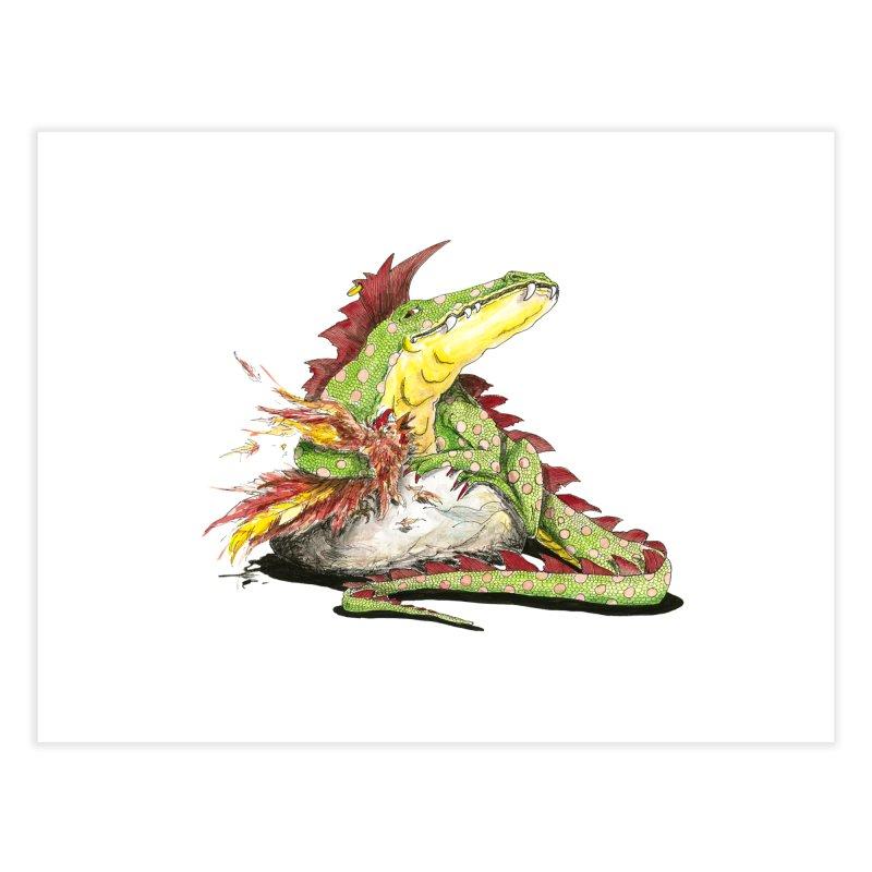 Lizard King, Chicken for Lunch Home Fine Art Print by mybadart's Artist Shop