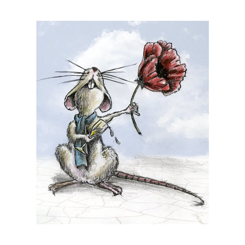 Rat and Poppy - have a flower by mybadart's Artist Shop