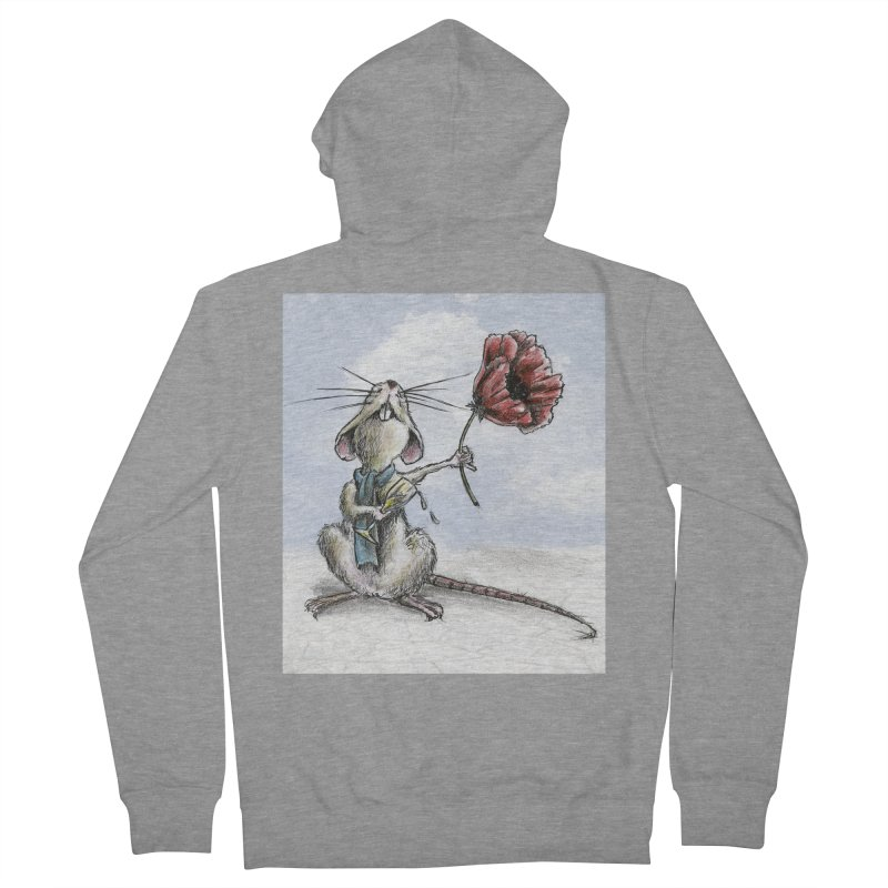 Rat and Poppy - have a flower Men's French Terry Zip-Up Hoody by mybadart's Artist Shop