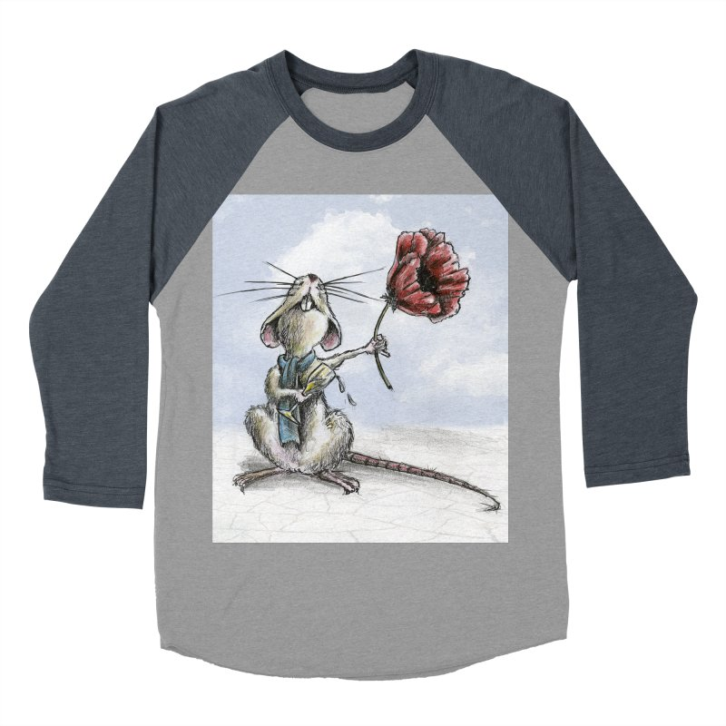 Rat and Poppy - have a flower Men's Baseball Triblend Longsleeve T-Shirt by mybadart's Artist Shop