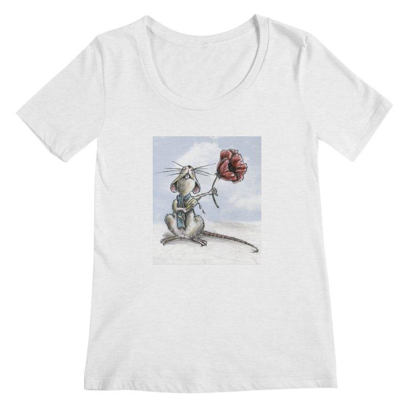 Rat and Poppy - have a flower Women's Regular Scoop Neck by mybadart's Artist Shop