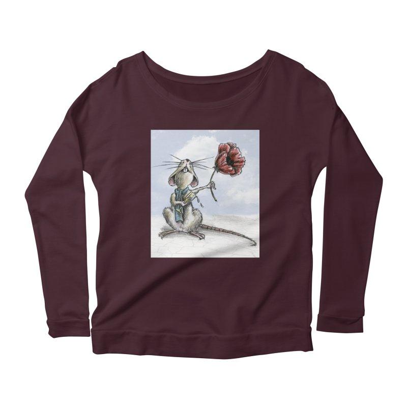 Rat and Poppy - have a flower Women's Scoop Neck Longsleeve T-Shirt by mybadart's Artist Shop