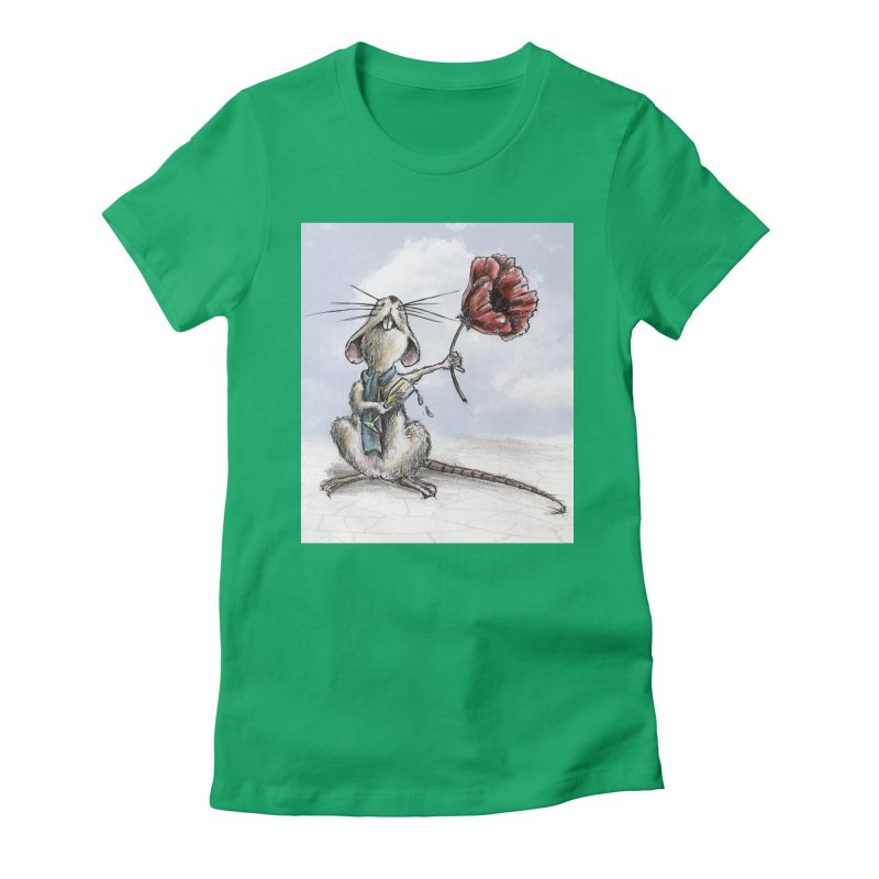 Rat and Poppy - have a flower Women's Fitted T-Shirt by mybadart's Artist Shop