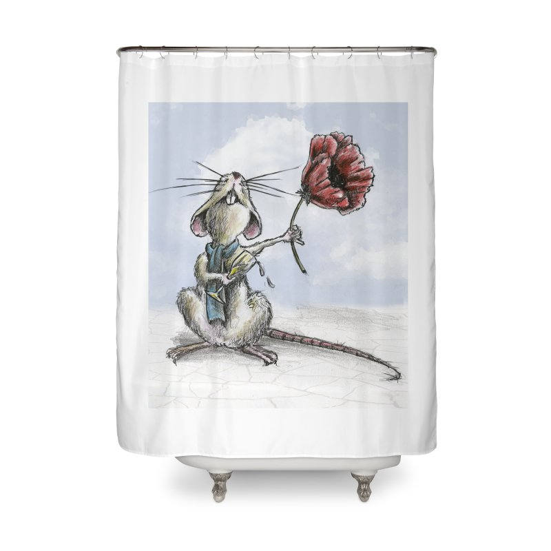 Rat and Poppy - have a flower Home Shower Curtain by mybadart's Artist Shop