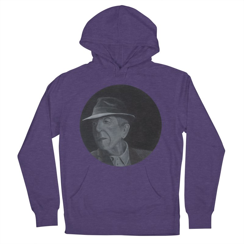 Leonard Cohen Men's French Terry Pullover Hoody by mybadart's Artist Shop