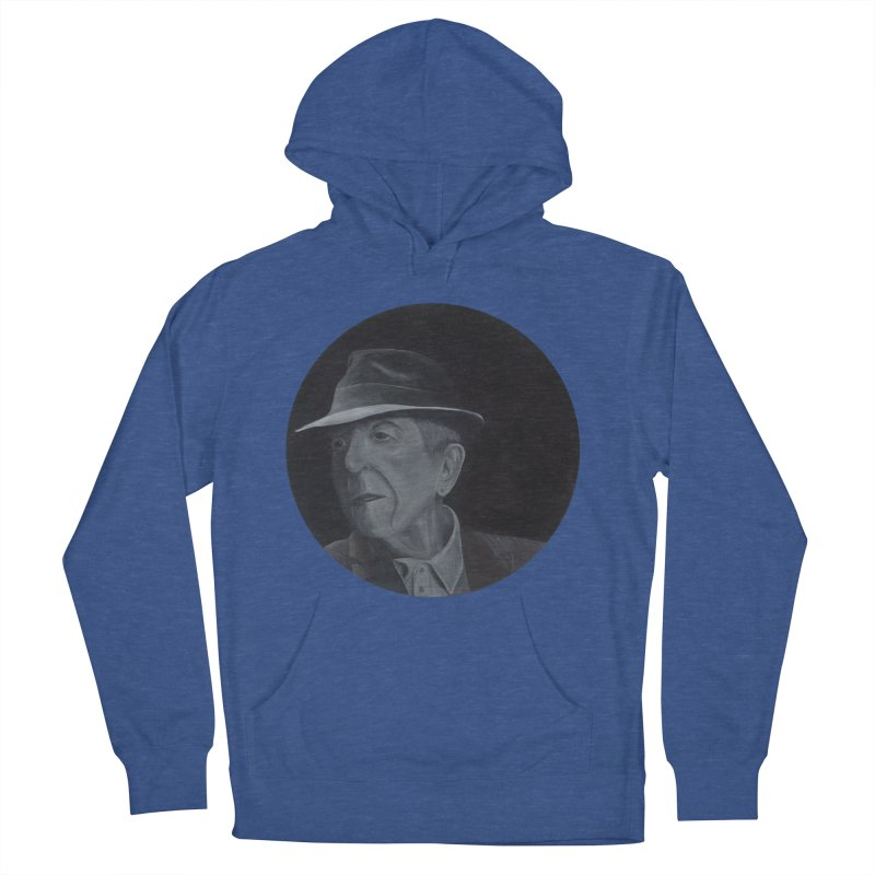 Leonard Cohen Men's French Terry Pullover Hoody by mybadart's Artist Shop