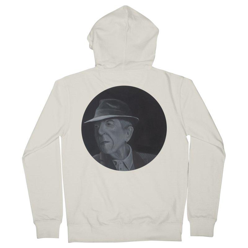 Leonard Cohen Women's French Terry Zip-Up Hoody by mybadart's Artist Shop