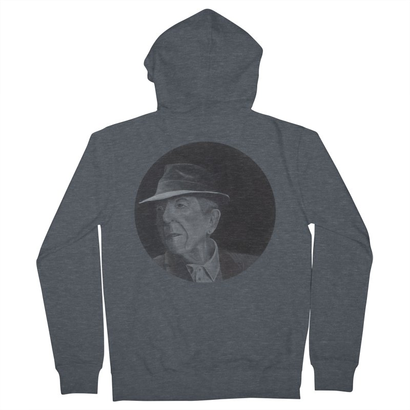 Leonard Cohen Men's French Terry Zip-Up Hoody by mybadart's Artist Shop