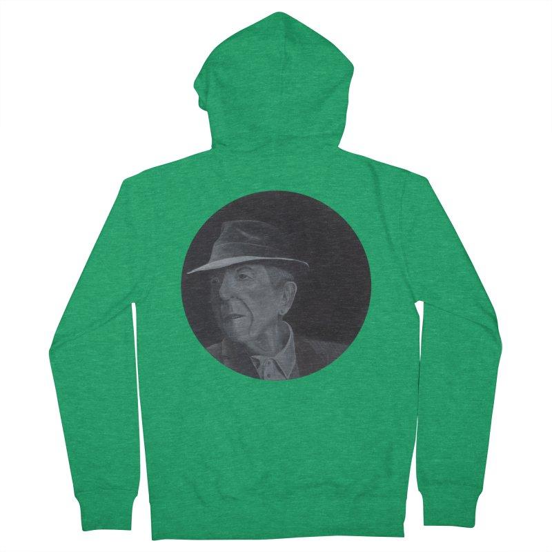 Leonard Cohen Men's Zip-Up Hoody by mybadart's Artist Shop