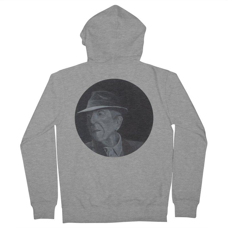 Leonard Cohen Men's French Terry Zip-Up Hoody by mybadart's Artist Shop