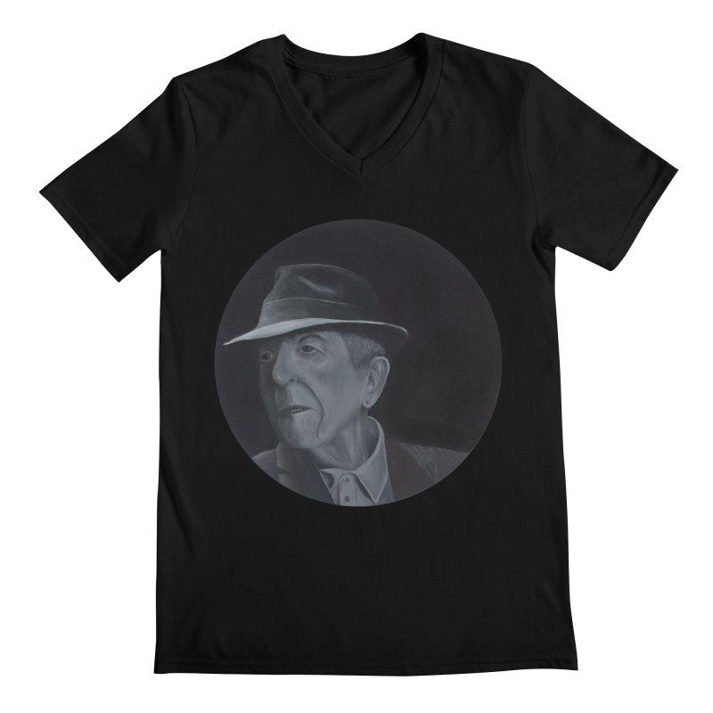 Leonard Cohen Men's Regular V-Neck by mybadart's Artist Shop