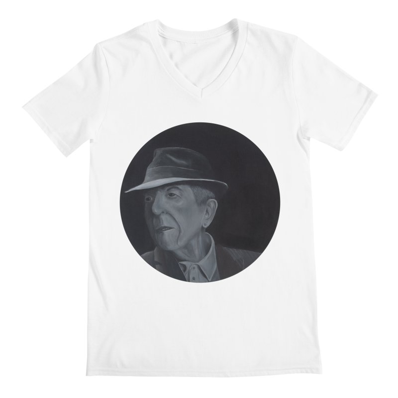 Leonard Cohen Men's V-Neck by mybadart's Artist Shop