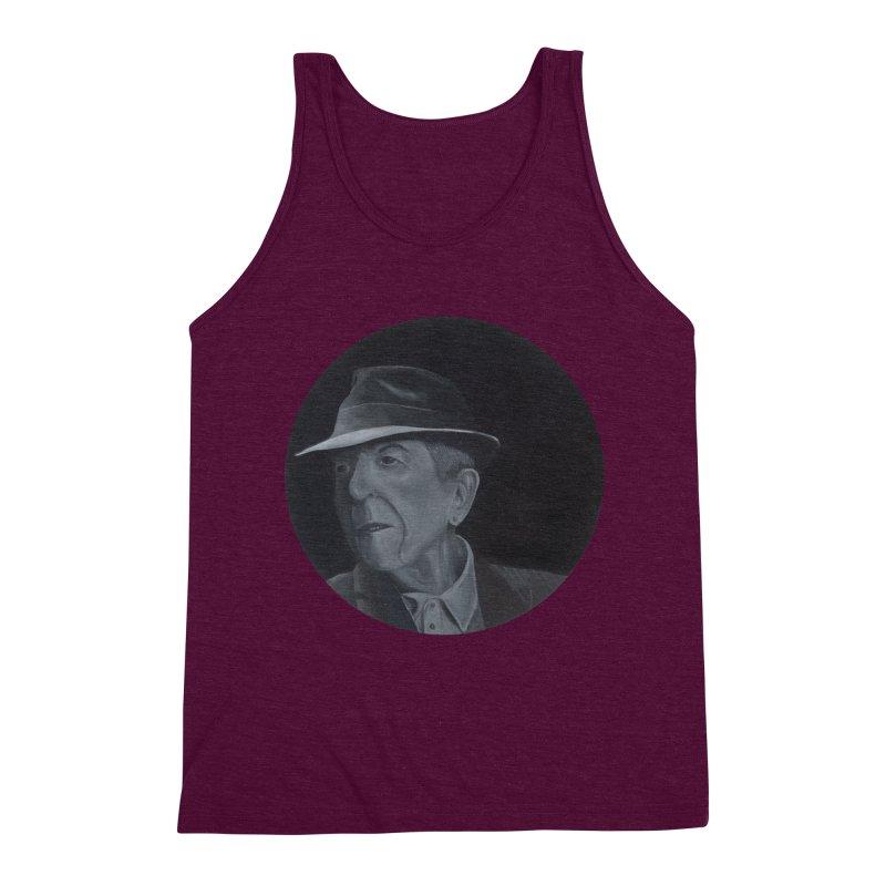 Leonard Cohen Men's Triblend Tank by mybadart's Artist Shop