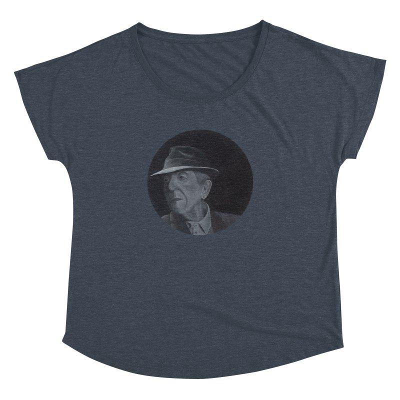 Leonard Cohen Women's Dolman Scoop Neck by mybadart's Artist Shop