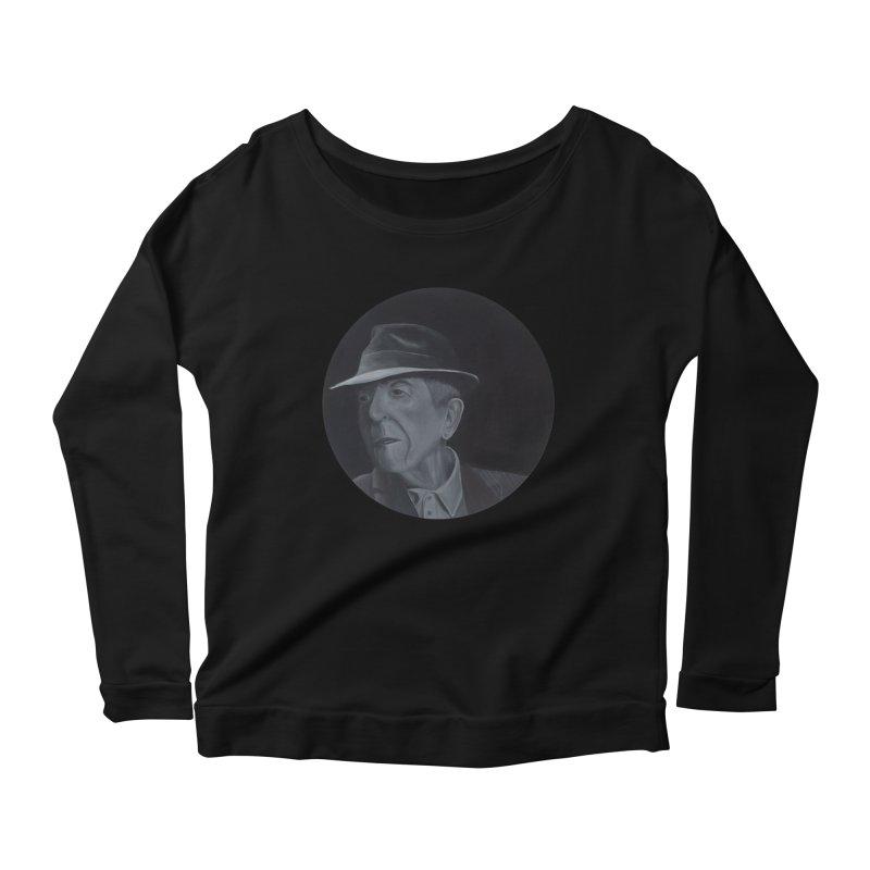 Leonard Cohen Women's Scoop Neck Longsleeve T-Shirt by mybadart's Artist Shop