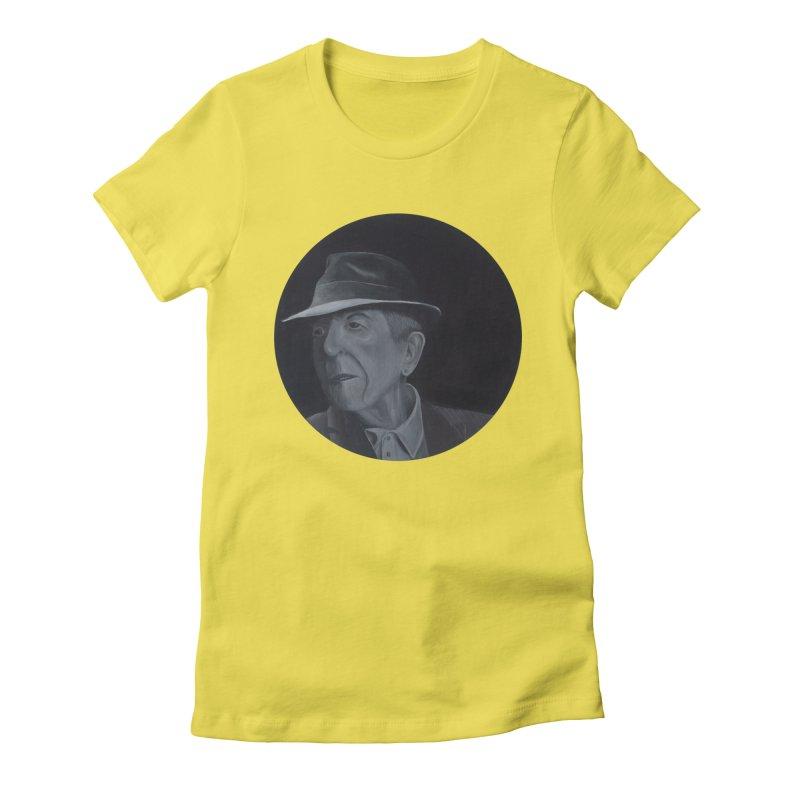 Leonard Cohen Women's Fitted T-Shirt by mybadart's Artist Shop