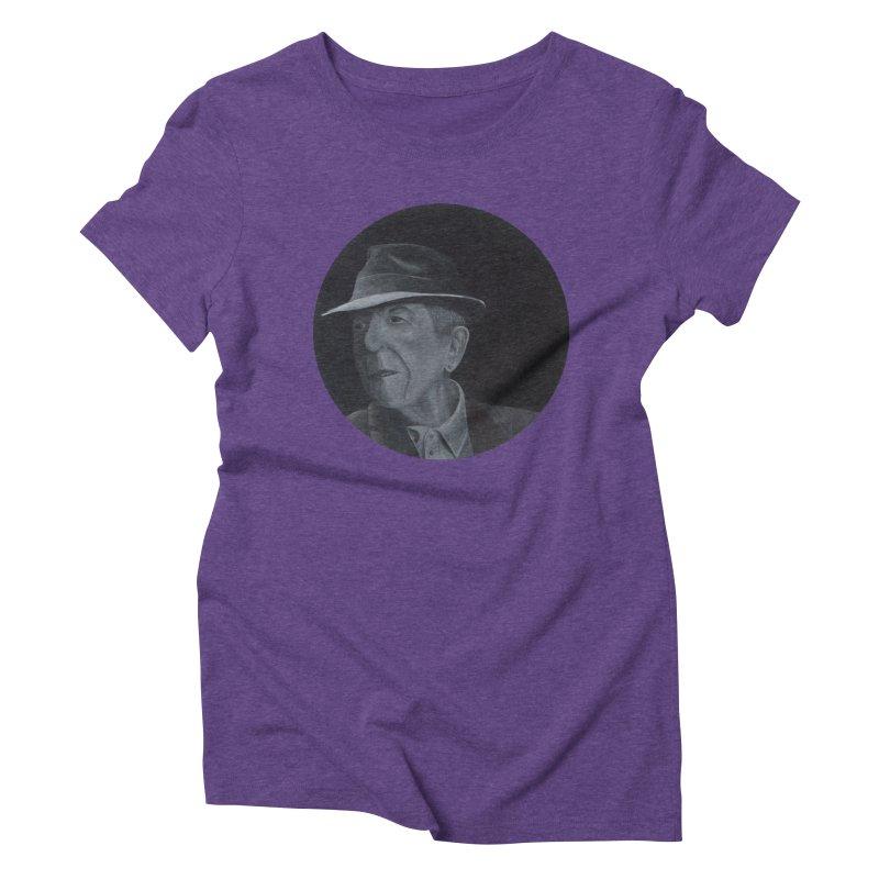 Leonard Cohen Women's Triblend T-Shirt by mybadart's Artist Shop