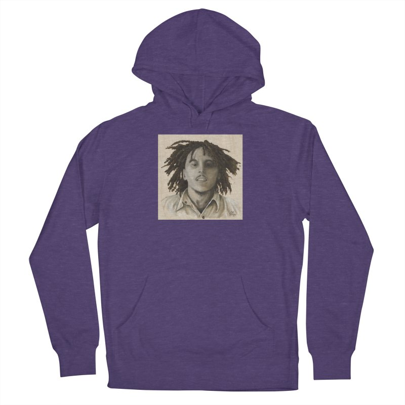 Bob Marley Men's French Terry Pullover Hoody by mybadart's Artist Shop