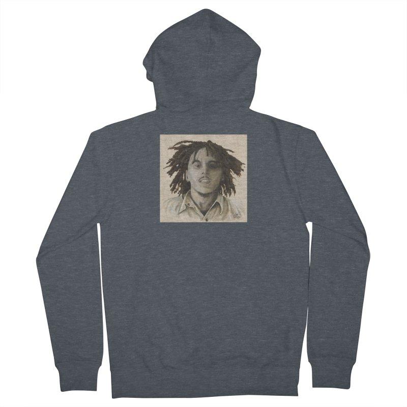 Bob Marley Women's French Terry Zip-Up Hoody by mybadart's Artist Shop