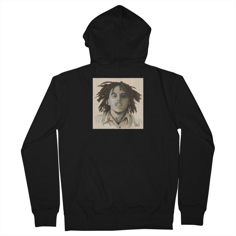 Bob Marley Men's French Terry Zip-Up Hoody by mybadart's Artist Shop