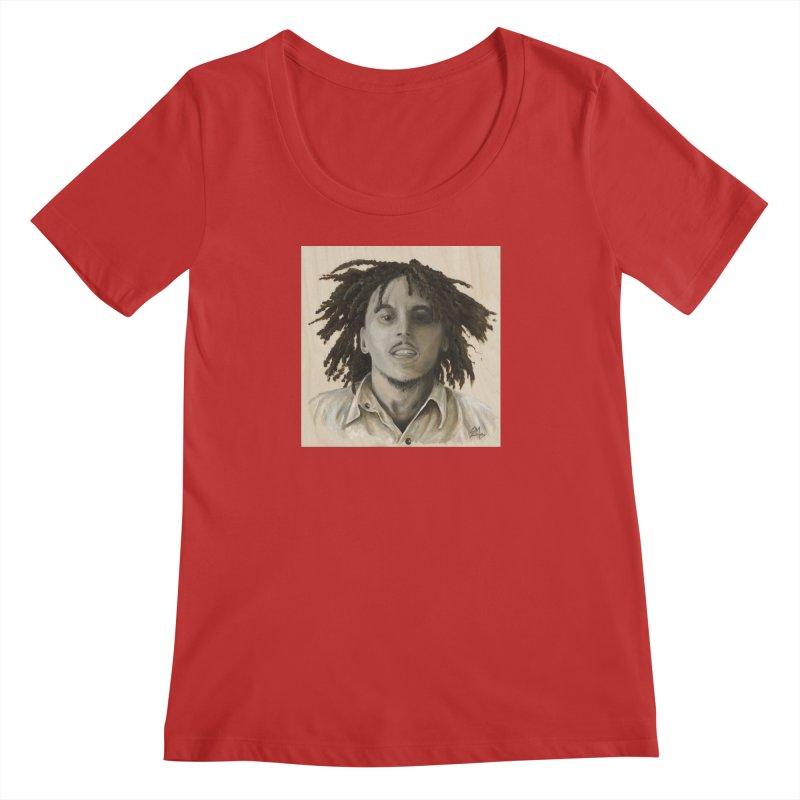 Bob Marley Women's Regular Scoop Neck by mybadart's Artist Shop