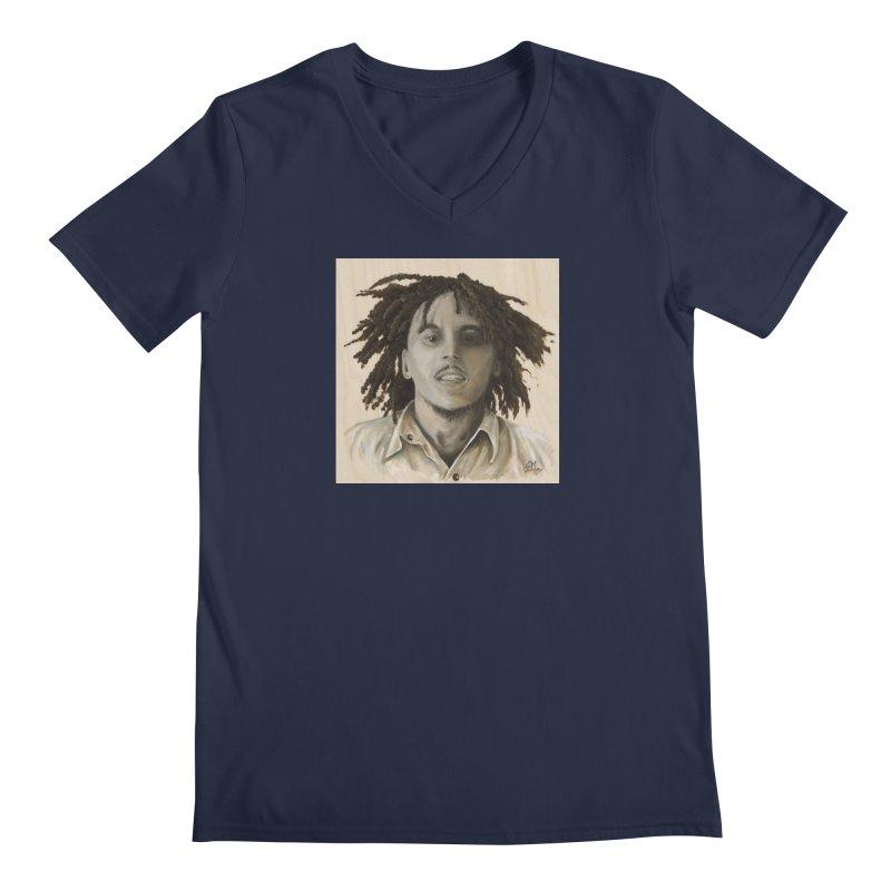 Bob Marley Men's Regular V-Neck by mybadart's Artist Shop
