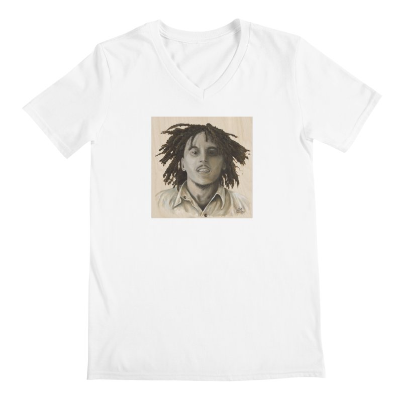 Bob Marley Men's V-Neck by mybadart's Artist Shop