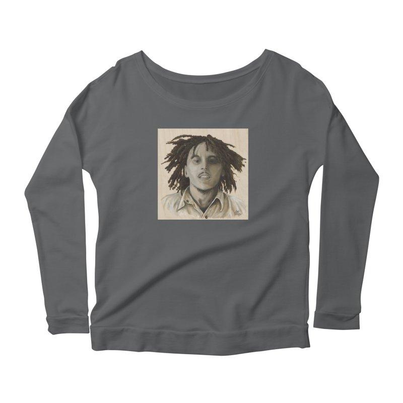 Bob Marley Women's Scoop Neck Longsleeve T-Shirt by mybadart's Artist Shop