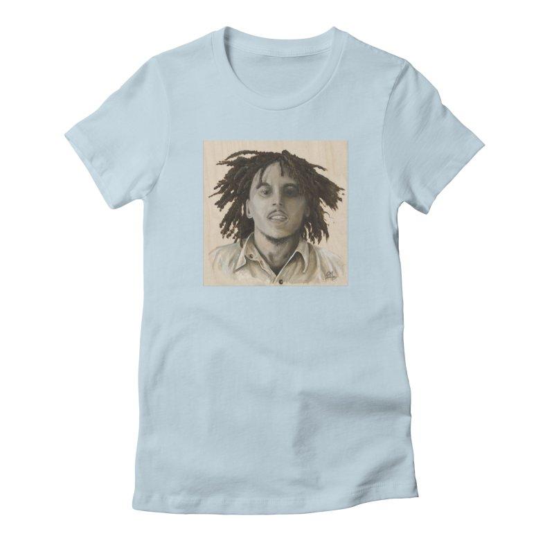 Bob Marley Women's Fitted T-Shirt by mybadart's Artist Shop