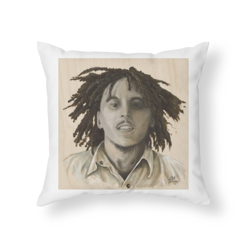 Bob Marley Home Throw Pillow by mybadart's Artist Shop