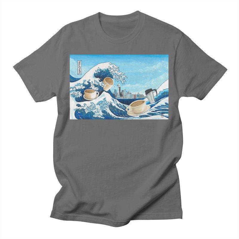 Hokusai - The Great Wave in Seattle Men's T-Shirt by mybadart's Artist Shop