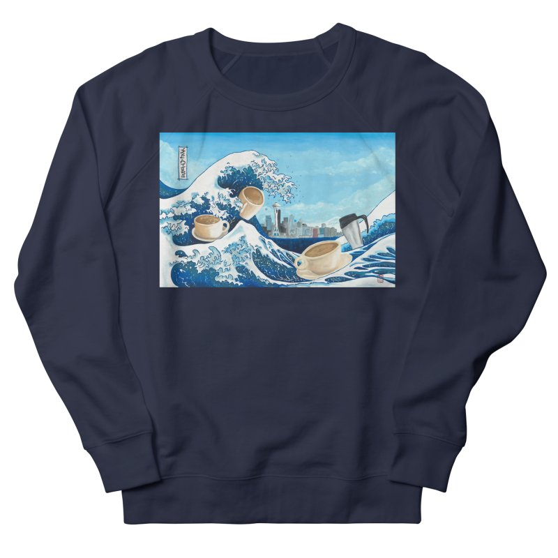 Hokusai - The Great Wave in Seattle Men's French Terry Sweatshirt by mybadart's Artist Shop