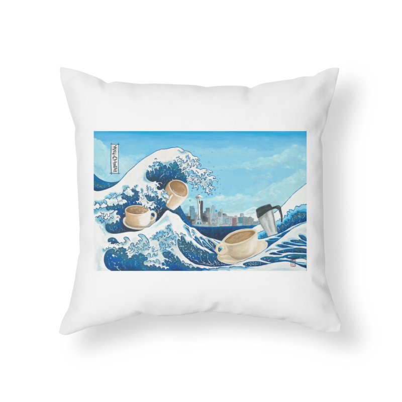 Hokusai - The Great Wave in Seattle Home Throw Pillow by mybadart's Artist Shop