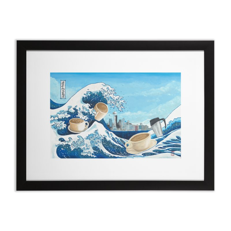 Hokusai - The Great Wave in Seattle Home Framed Fine Art Print by mybadart's Artist Shop