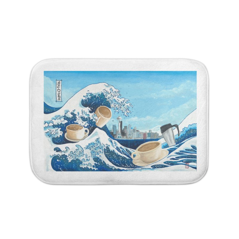 Hokusai - The Great Wave in Seattle Home Bath Mat by mybadart's Artist Shop