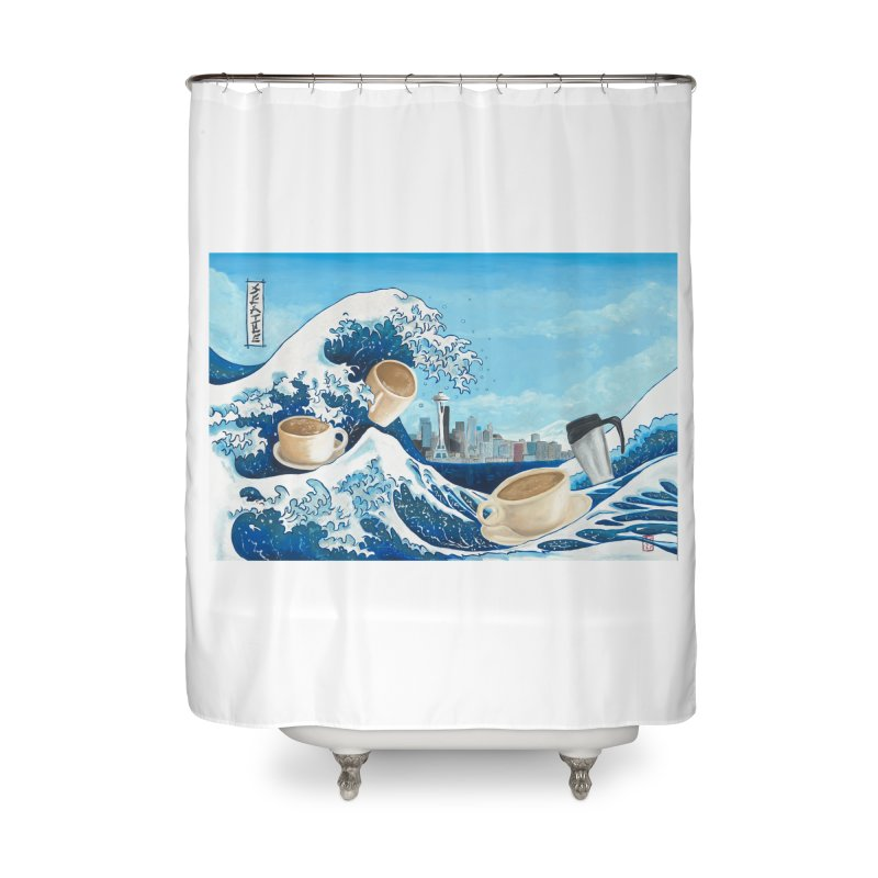 Hokusai - The Great Wave in Seattle Home Shower Curtain by mybadart's Artist Shop