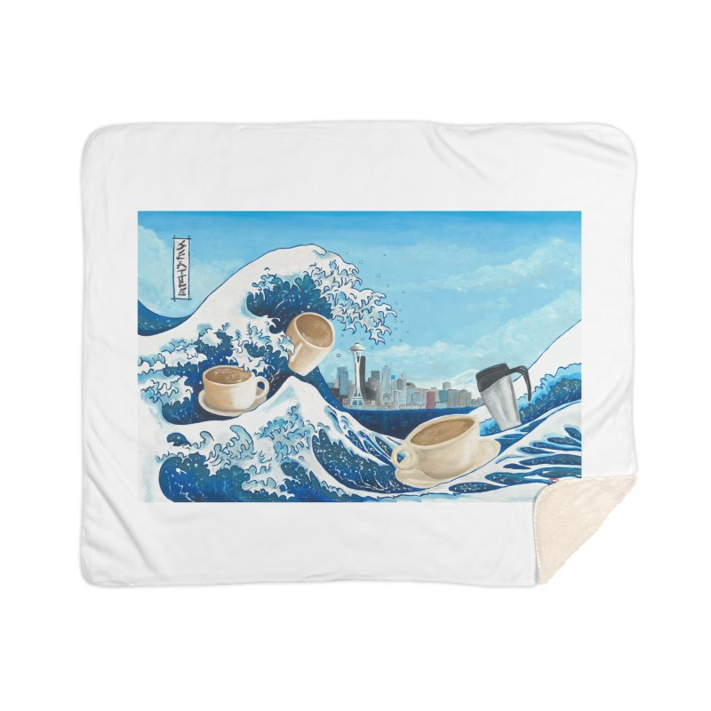 Hokusai - The Great Wave in Seattle Home Sherpa Blanket Blanket by mybadart's Artist Shop