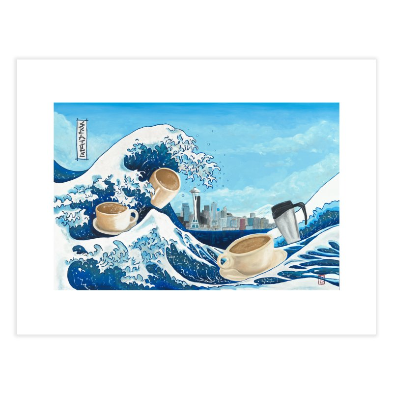 Hokusai - The Great Wave in Seattle Home Fine Art Print by mybadart's Artist Shop
