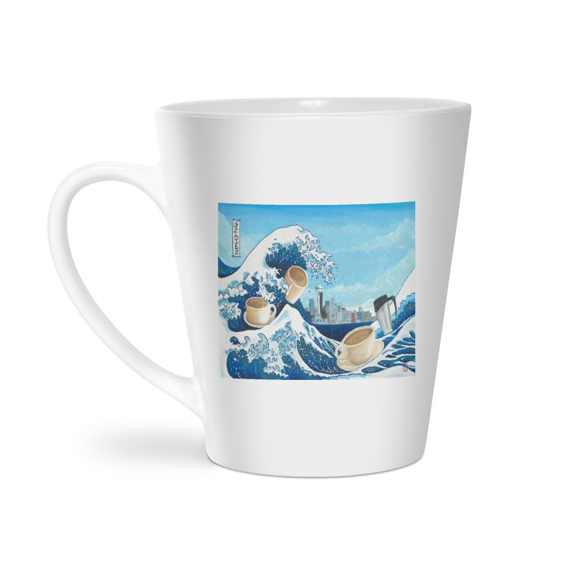 Hokusai - The Great Wave in Seattle Accessories Latte Mug by mybadart's Artist Shop